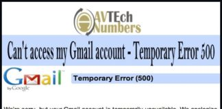 Can't access my Gmail account - Temporary Error 500
