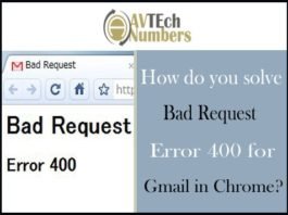 How do you solve Bad Request Error 400 for Gmail in Chrome?