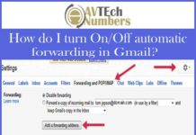 How do I turn On/Off automatic forwarding in Gmail?